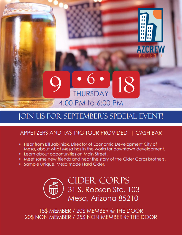 September Mixer with Bill Jabjiniak from the City of Mesa @ Cider Corps | Mesa | Arizona | United States