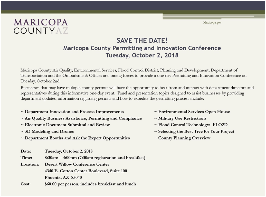 MARICOPA COUNTY Permitting & Innovation Conference Registration @ Desert Willow Conference Center  | Phoenix | Arizona | United States